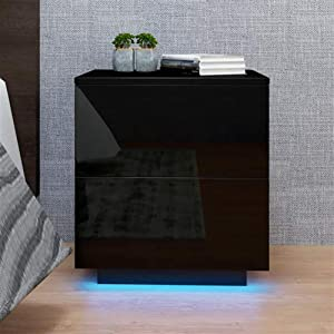 Angelbee High Gloss Nightstands, LED Black Bedside End Table with 2 Drawers, Nordic Style Particle Board Simple Furniture Coffee Table Cabinet Storage for Bedroom, Living Room(Electronic Manual)