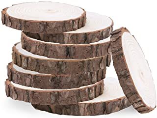 30pcs 8-10CM Natural Wood Log Slices Discs for DIY Crafts Wedding Centerpieces (White), Blank Wood Piece