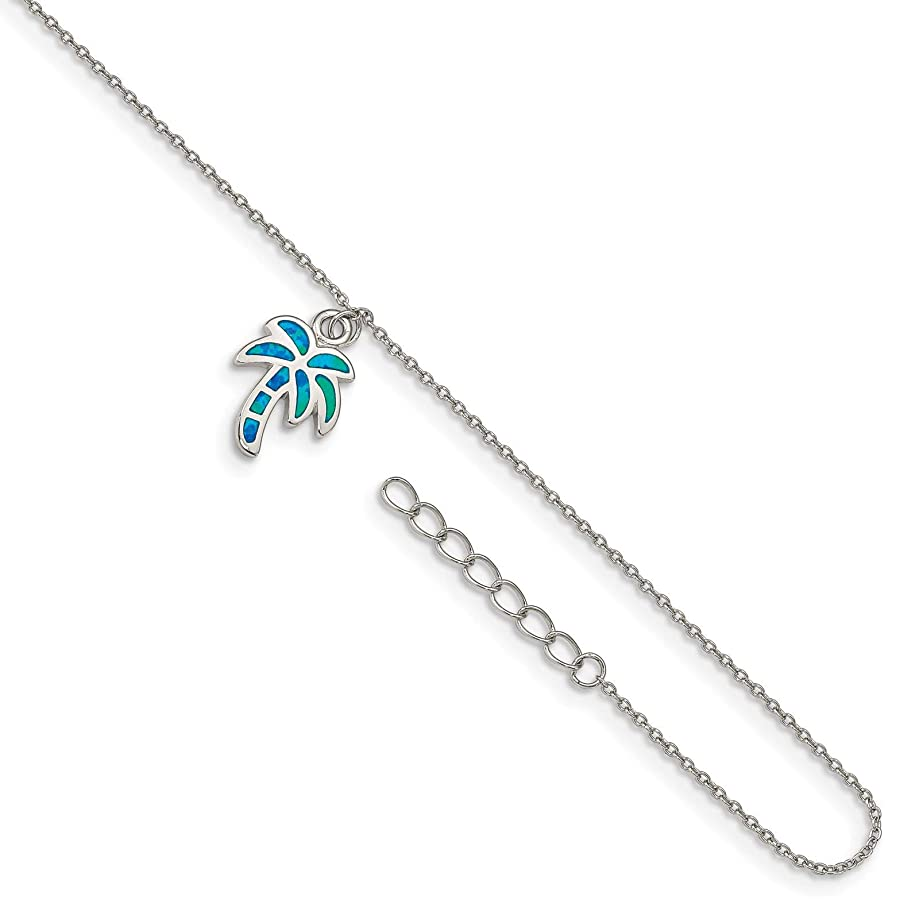 925 Sterling Silver Rhodium-plated Blue Created Opal Inlay Palm Tree Ankle Bracelet Anklet 9