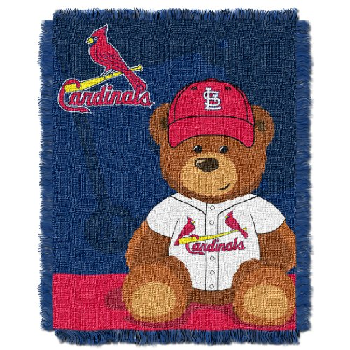 Officially Licensed MLB St. Louis Cardinals 'Field Bear' Woven Jacquard Baby Throw Blanket, 36' x 46', Multi Color