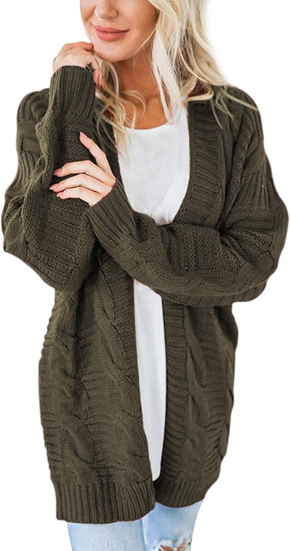 Pink Wind Women's Open Front Long Sleeve Chunky Knit Cardigan Sweaters Loose Outwear Coat