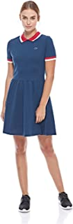 Lacoste womens SHORT SLEEVE SEMI FANCY FIT & FLARE POLO DRESS Dress