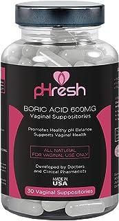 Boric Acid Vaginal Suppositories pHresh - Promotes Healthy Vaginal pH Balance, Supports Vaginal Health 600mg, Bottle of 30...