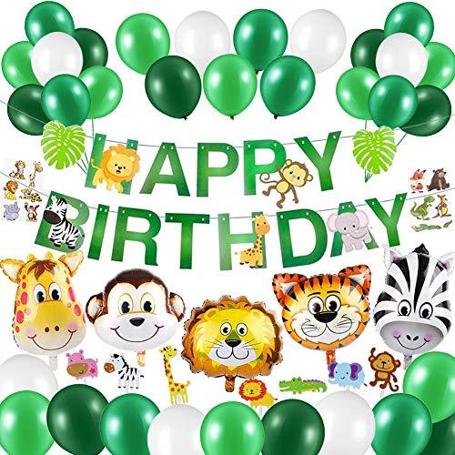 Sunshine smile Folienballon Tiere,Safari Geburtstag Deko,Dschungel Kindergeburtstag Deko,Happy Birthday Girlande,Dschungel Geburtstag Party Deko,Luftballon Geburtstag, Palmblätter Deko (Grün)