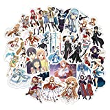Pegatinas estéticas Pack 50-Pcs Stickers Sword Art Online Anime japonés Pegatinas Muebles Escritorio de Pared Silla DIY Coche TV Guitarra Motocicleta