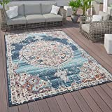 Vloerkleed voor binnen en buiten, laagpolig vloerkleed met oosters ontwerp, verschillende kleuren en afmetingen, Maat:140x200 cm, Farbe:Blauw