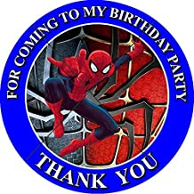 12 SPIDERMAN Birthday Party Favor Stickers/Labels for Gift, Goody Treat Bag (2.5 inches circle stickers, bags not included)