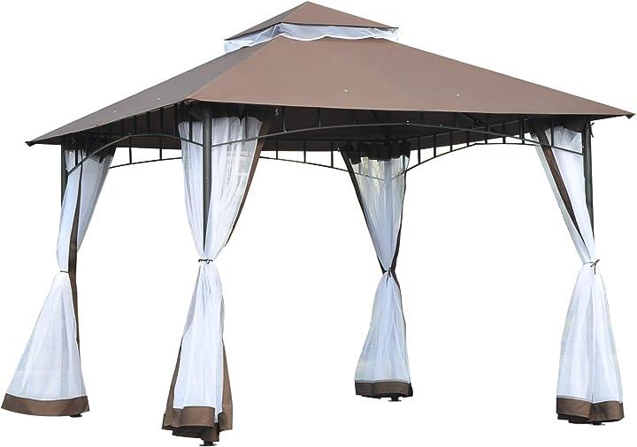 Gazebo da giardino 3x3m con zanzariera, tetto a 2 livelli in poliestere struttura in metallo marrone IT84C-010CF0631