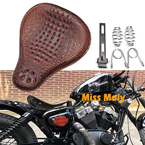 Asiento Cuero de Moto, Diseño de Cocodrilo Solo Asiento de Motocicleta para Sportster Fatboy Dyna Shadow Vulcan Road Star (Marrón-Potenciar)