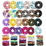 75 Pcs Velvet Hair Scrunchies Silk Scrunchies Chiffon Flower Hair Bands for Women or Girls,Great Gift for Birthday ,Party,hanksgiving,Christmas
