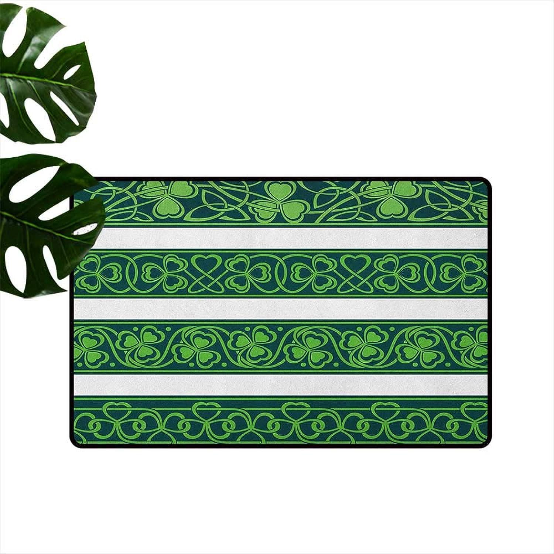 Irish Antibacterial Doormat Set of Four Shamrock Borders Gaelic Nature Botany Theme Artsy Trefoils Swirls Mildew Proof W35 x L59 Forest Green White