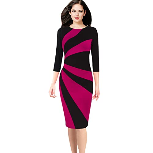 f7ae8a9b5ac VFSHOW Womens Colorblock Patchwork Slim Work Business Office Sheath Dress