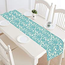 InterestPrint Teal Damask Floral Table Runner Linen & Cotton Cloth Placemat Home Decor for Wedding Banquet Decoration 16 x 72 Inches