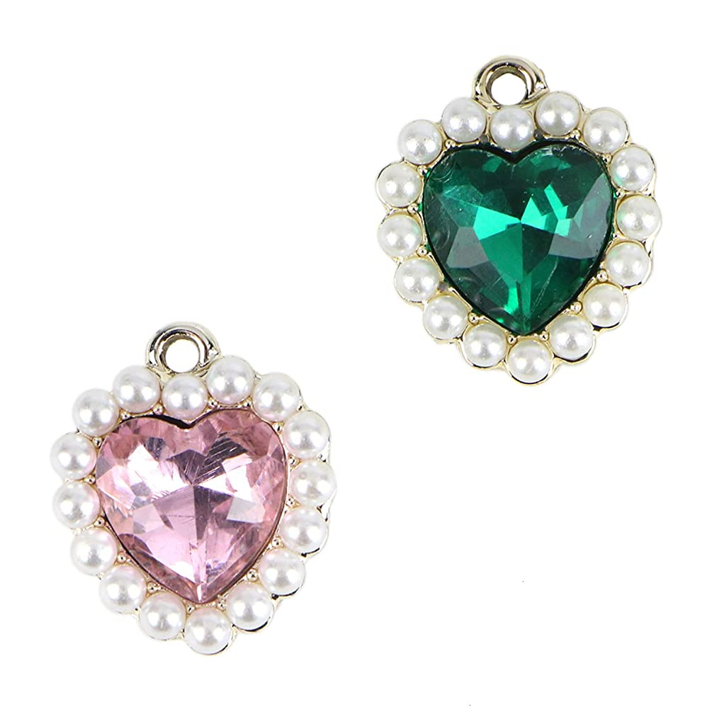 Monrocco 10PCS Pink & Green New Crystal Love Heart Bracelet Charms Pendants Love Heart Charms DIY Jewelry Making for Necklaces Bracelets Earring