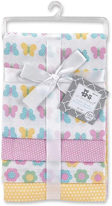 Cribmates 4 Pack Flannel Receiving Blankets Butterfly