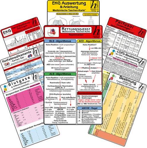 Rettungsdienst Karten-Set - professional (11er Set): EKG; Herzrhythmusstörungen; Notfallmedikamente; Reanimation; Blutgase & Differentialdiagnose; COPD-Beatmung; Perfusor Dosierungen; Beatmung - Leitfaden für Oxygenierungs-Störungen