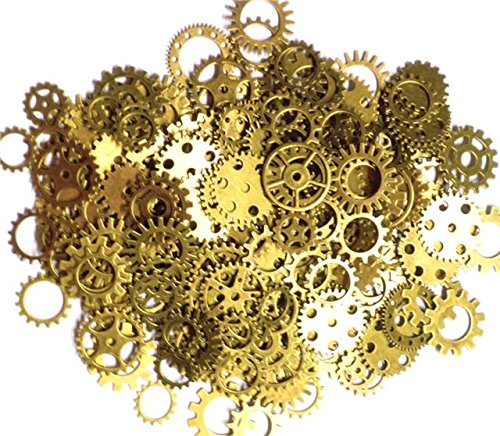 High quality steampunk cogs and gears Four colours to choose from - Brass, Gold, Silver, Copper Ideal for art, craft, jewellery making, card making and to your steampunk work You get approx. 70-80 cogs per 100g bag with up to 18 different shaped cogs...