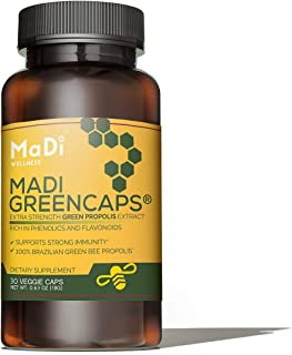 Madi Greencaps - Green Bee Propolis Extract Capsule 700mg, 100% Brazilian Green Bee Propolis, Immune Support, All Natural Supplement, 30 Veggie Capsules