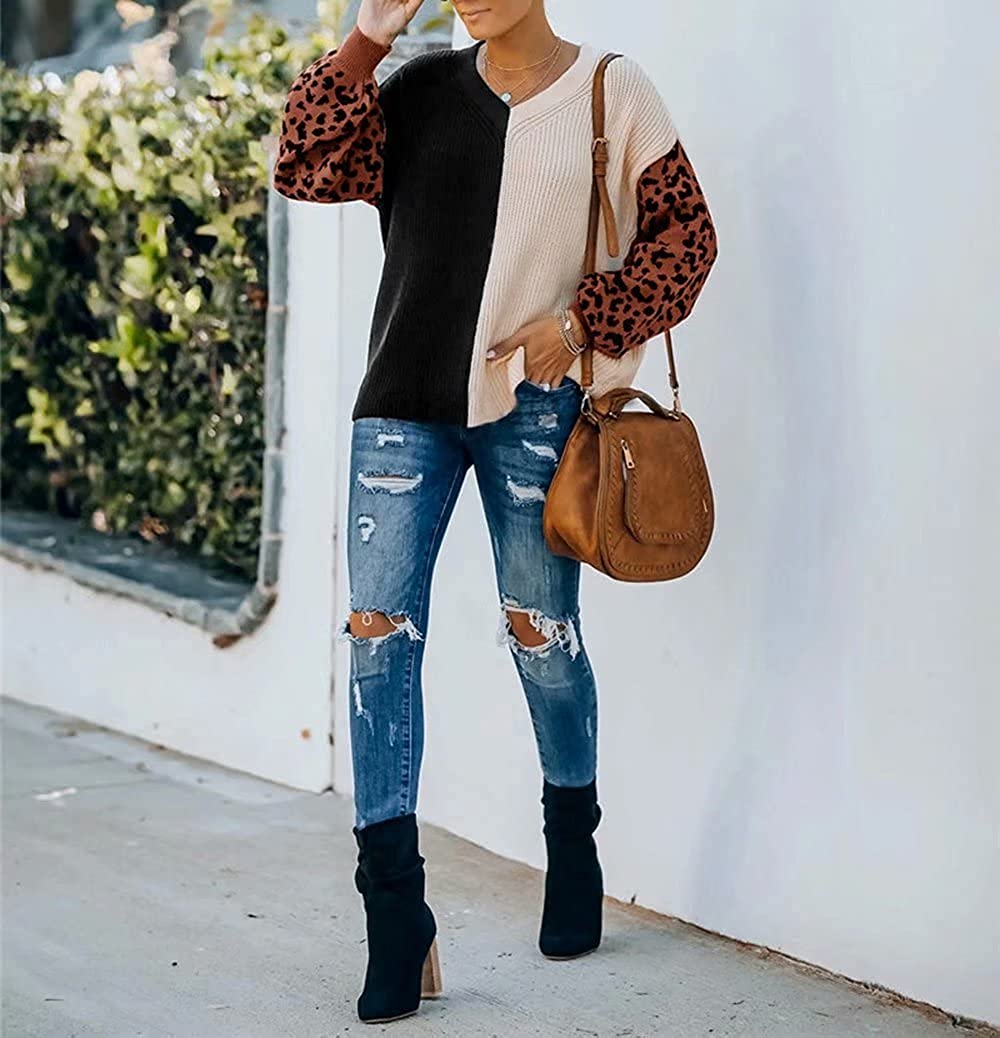 SUPRELOOK Women's Long Sleeve V Neck Color Block Pullover Sweater Casual Loose Leopard Knitted Jumper Tops