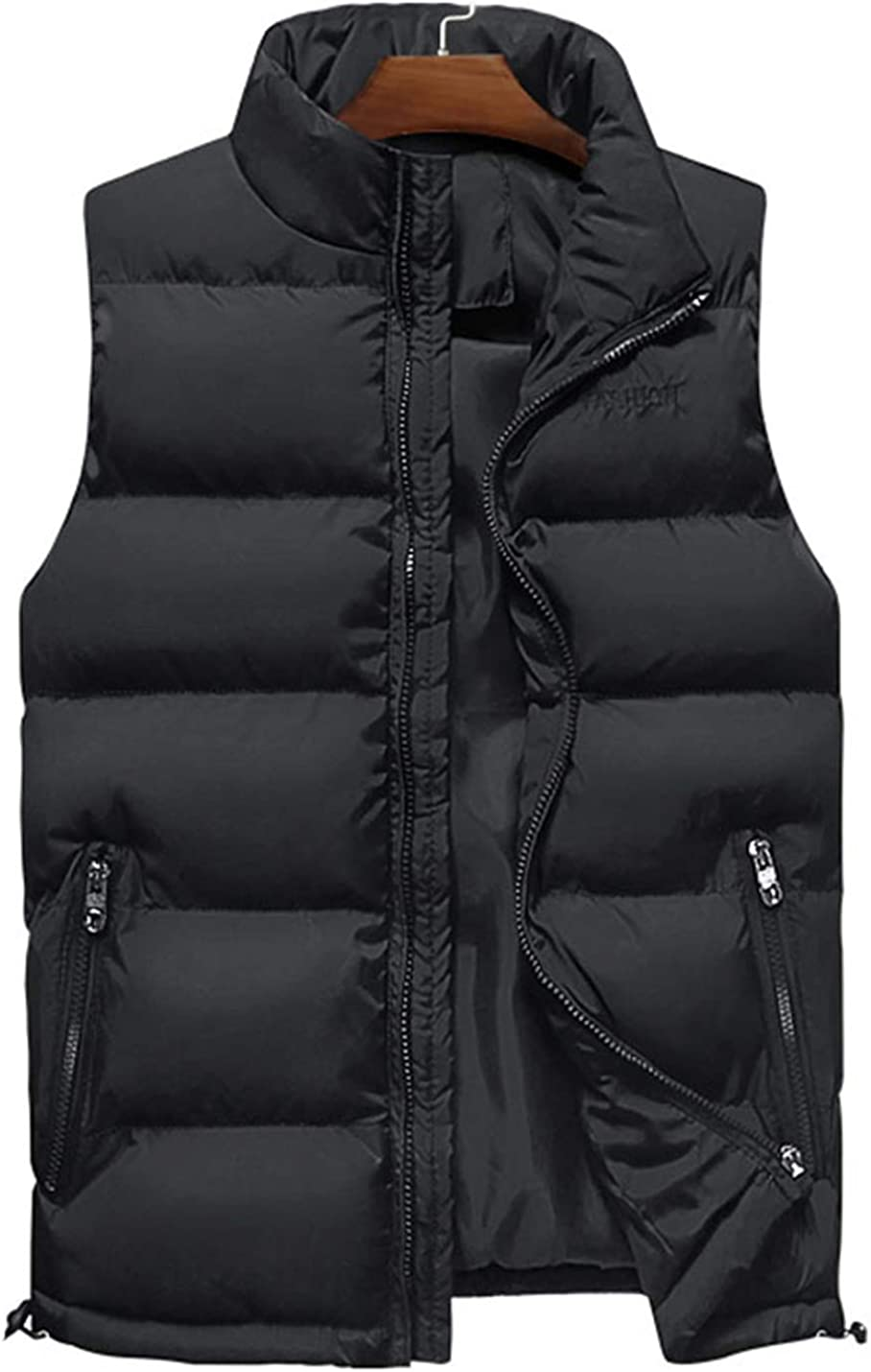 Uaneo Mens Casual Slim Thicken Sleeveless Zipper Quilted Padded Puffy Parka Vest