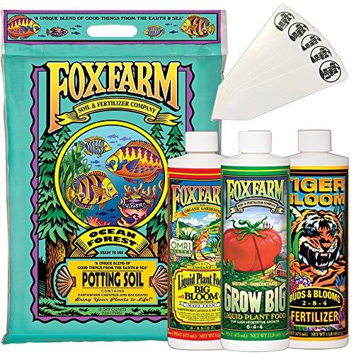 Fox Farm Starter Bundle   Big Bloom, Grow Big, Tiger Bloom (Pack of 3-16 oz. Bottles)   12 Quart Ocean Forest Garden Potting Soil Bag   THCity Stakes