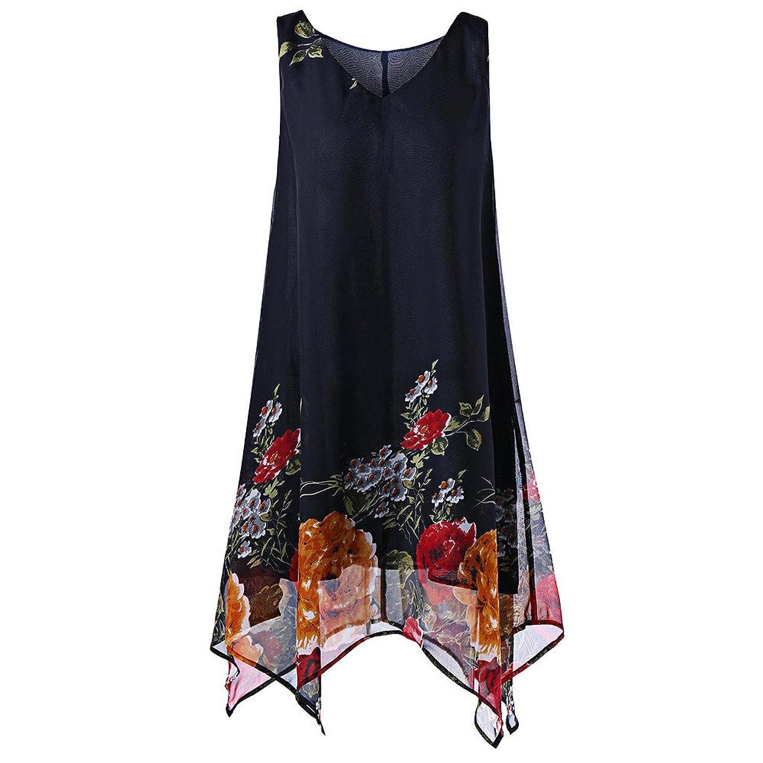 ????Womens Shirts Print Irregular Sleeveless Casual Tunic Tops Blouse T-Shirt for Ladies Teen Girls