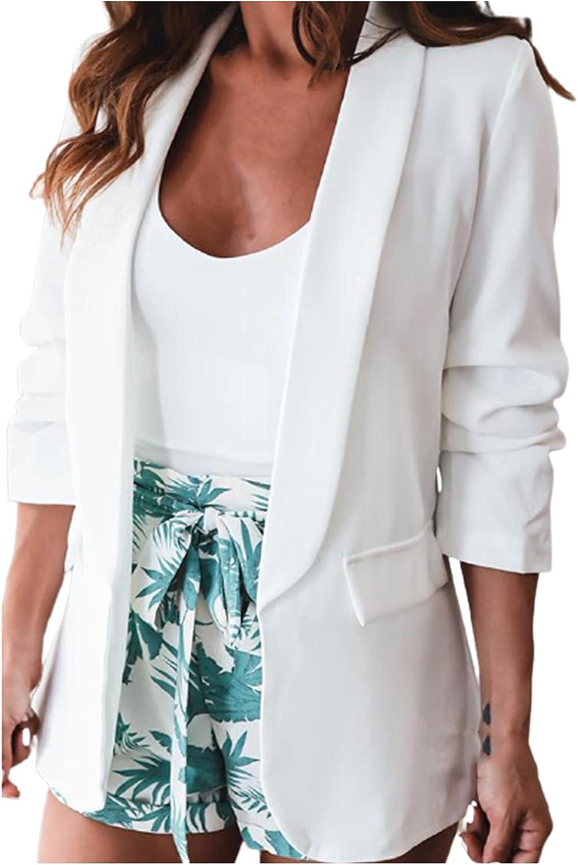 Women Casual Long Sleeve Blazer Solid Color Tunic Tops Open Front Work Office Jacket Lightweight Pocket Coat Cardigan