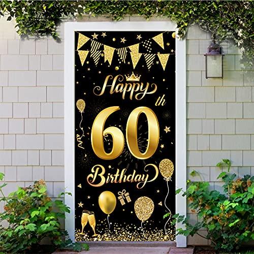 Decoración de Fiesta de 60 Cumpleaños, Extra Grande Póster de Cartel Dorado Negro Materiales de Fiesta de 60 Cumpleaños, 60 Aniversario para Foto Prop Fondo Pancarta de Fondo de