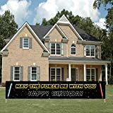 Large Star Inspired Wars Happy Birthday Banner, May The Force Be With You Sign, Star Wars Birthday Decorations Party Supplies(9.84 × 1.64 feet)