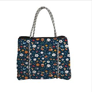 iPrint Neoprene Multipurpose Beach Bag Tote Bags,Sport,Many Basketball Baseball and Football Icons Champ Gloves Dark Background,Dark Blue Multicolor,Women Casual Handbag Tote Bags