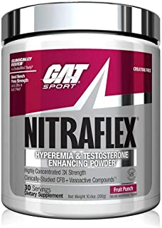 GAT Sport, NITRAFLEX Testosterone Boosting Powder, Increases Blood Flow, Boosts Strength and Energy, Improves Exercise Per...