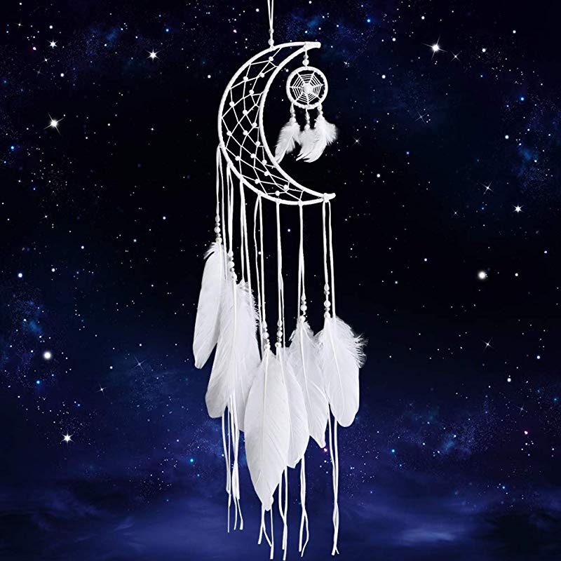 Dremisland Dream Catcher New Moon Design Handmade White Feather Wall Hanging Home Decoration Ornament Craft Gift White Moon