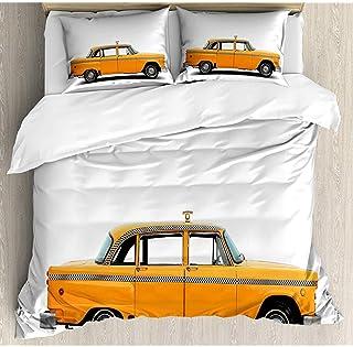 Moily Fayshow New York Taxi Funda nórdica Juego de Colcha Blanca y caléndula Funda de edredón de 3 Piezas con 2 Fundas de Almohada 210 x 175 cm