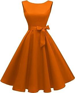 Hanpceirs Women's Boatneck Sleeveless Swing Vintage 1950s Cocktail Dress Orange 3X