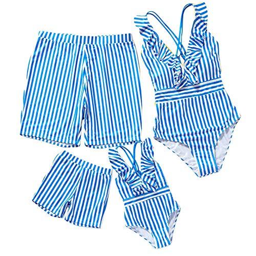 mama stadt Badeanzug Familie Matching Swimsuits Streifen Drucken Bademode Mutter und Tochter Bikini Einteilig,Vater und Sohn Badehose Badebekleidung