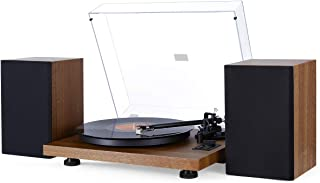 1byone Wireless Turntable Hi-Fi System with 36 Watt Bookshelf Speakers, Vinyl Record Player with Magnetic Cartridge