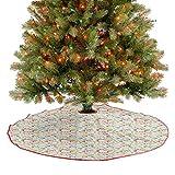 Homesonne Falda de árbol de Navidad colorida romántica con forma de corazón, mariposas abstractas, d...
