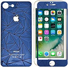 iPhone 7 3D Diamond Screen Protector, NEM Front Back Colored 3D Diamond Tempered Glass Full Coverage Screen Protector for iPhone 7 - Blue