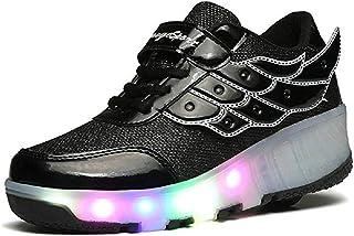 EVLYN LED Light Up Roller Skate Shoes Wheel Flashing Sneakers for Boys Girls