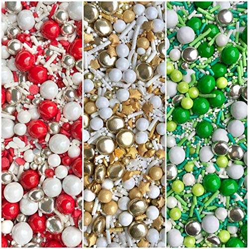 Manvscakes | 12 oz | Christmas sprinkle variety pack | Sprinkle mix | Cake sprinkles | Holiday sprinkle | Baking sprinkles | Sprinkles