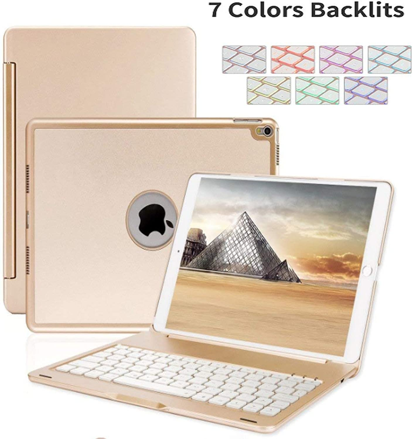 IPad 10.5 inch 2019 Keyboard Case(3rd Gen),Sammid Wireless 7 color Backlit Silent Typing Keyboard Case with Hard Shell Multi-Angle Stand Predection Cover Smart Keyboard for 10.5 inch iPad Air 3rd Generation-gold