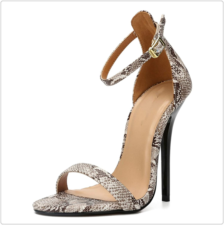 Xjizm Plus Size 48 Women Ankle Strap Sandal Sexy Snake Print High Heel Open Toe Ladies