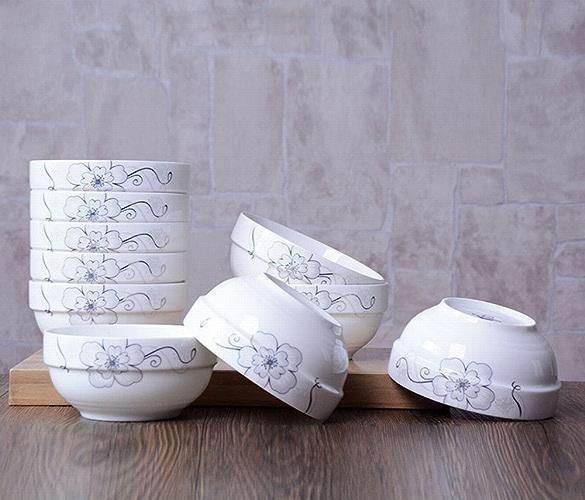 CWJ 10 Bol en Céramique Ensemble Créatif Maison Osseuse Porcelaine Bol de Riz Bol Carré Bol de Riz Micro-Ondes Couverts,B