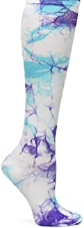 Nurse Mates EKG Heart and Holiday Compression Trouser Socks, Lilac/Aqua, One Size