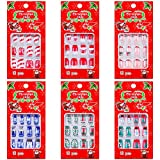 72 Pieces Christmas False Nails Artificial Fake Short Fingernails Santa Claus and Cute Snowman Decoration with 6 Jelly Glue for Nail Art Salon DIY Decoration, 12 Sizes 6 Boxes