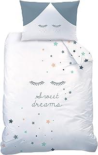 Sterne Babybettwäsche Biber / Flanell  Kinderbettwäsche für Mädchen & Jungen  SWEET DREAMS  Sleepy Eyes  Sterne & Wimpern  Bettbezug 100x135  Kissenbezug 40x60 cm