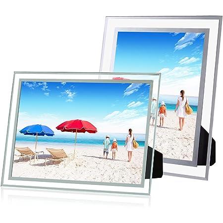 【2本セット】WECOLOR 高い透明フォトフレーム ガラスフレーム 額縁 写真 立て ポスター 記念写真 縦横兼用ギフト スタンド タイプ (A5)