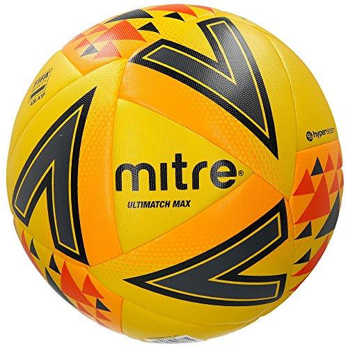 Mitre Ultimatch Max Fußball Spielball, Yellow/Orange/Black, 5