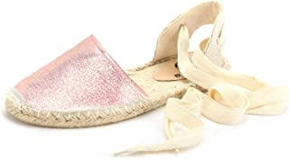 diig Espadrille Sandals for Women, Lace Up Closed Toe Espadrilles Silver Brown Navy Light/Rose Gold Tie Up Flat Shoes(04-9-3 / Rose Gold, US-9)