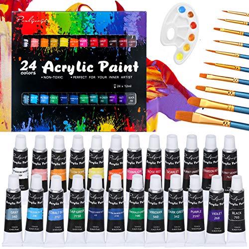 Acrylfarben-Set, Pinsel Lebendige Farbe Set enthalten 10 Pinsel und 2 Paletten, 24 reiche Pigmentfarben für Leinwand usw, ungiftig & lebendige Farben malen von Kindern bis...